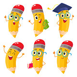 Set of cartoon pencils with books, backpack, glasses, graduation cap
