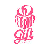 pink and white graphic gift box logo templates