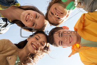group of happy teenage friends