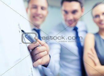 smiling business team with charts on flip board
