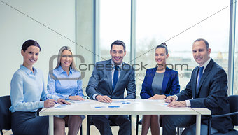 smiling business team at meeting