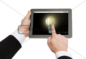 close up of man hands holding tablet pc