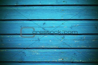 old wooden board texture background bright blue color