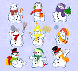 Set of winter holidays snowman on blue background. EPS10 vector illustration