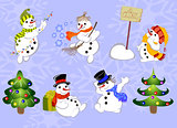 Set of winter holidays snowman and Christmas tree on blue background. EPS10 vector illustration