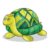 Happy little cartoon turtle smiling vector