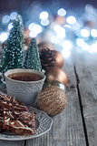 Christmas cookies and tea background
