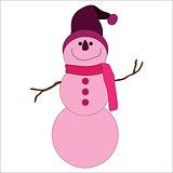 Cute pink snowman on white background