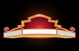 Brightly theater glowing retro cinema neon sign
