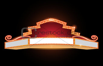 Brightly theater glowing retro cinema neon sign