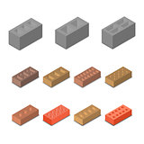 Set isometric icon construction materials, vector illustration.