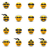 Funny face with a mustache and sunglasses, vector illustration.
