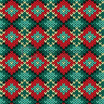 Seamless knitted rhombus color pattern