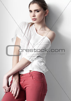 Beautiful young fashion girl model posing