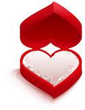 Red open box heart shape