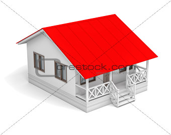 House with red roof and porch. Aerial view