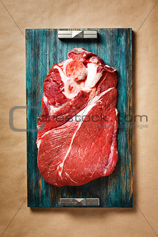 Top view of beef red meat with black pepper