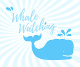 Whale watching logo in handwritten style