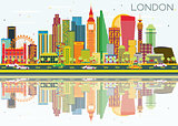Abstract London Skyline with Color Buildings and Reflections.