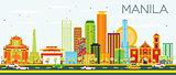 Manila Skyline with Color Buildings and Blue Sky.