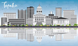 Topeka Skyline with Gray Buildings, Blue Sky and Reflections.