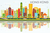 Abstract Hong Kong Skyline with Color Buildings, Blue Sky and Re