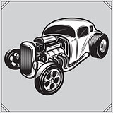 illustration of a stylish monochrome hotrod on a gray background