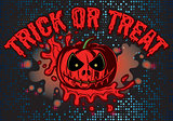 vector for Halloween with pumpkin and blood flow for advertisements or invitation