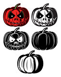 set vector templat with different Halloween pumpkins