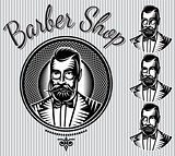 set of vector templates for hairdresser gentlemen or men club