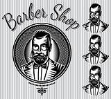 set of vector templates for hairdresser gentlemen or men club