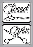 Set of vintage door signs for barber shop with scissors