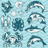 set of freshwater and marine fish and shellfish
