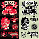 set of vector steak template for grilling, barbecue, menu