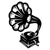 gramophone icon for logo template, vector monochrome illustration