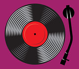 symbolic gramophone with vinyl record, retro DJ mixer, illustration