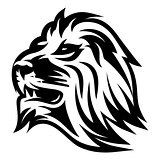 monochrome pattern with lion's head for a logo or packaging