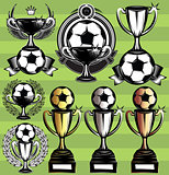 set of vector monochrome league icons with soccer ball, ribbon and cups