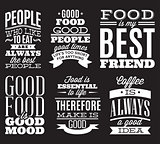 set of vintage typographic food quotes to the menu or t-shift