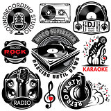 set of retro badges templat for karaoke, disco, party, radio, singing