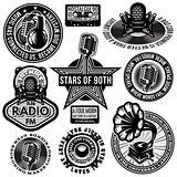 set of retro badges templates gramofon, microphones, speaker, headphones, audiocassette