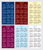 vector set of calendar grid for years 2017-2022 for business cards