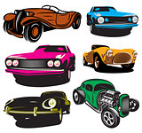 collection of vector illustration with colored classic cars