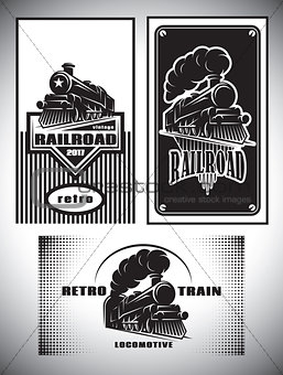 Business card template set. Vintage steam train, old retro railroad