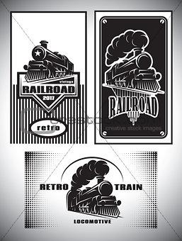 Business card template set. Vintage steam train, old retro railroad