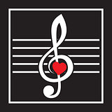 illustration with treble clef and heart on black background