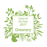 Greenery trendy background with frame