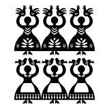 Polish folk art pattern Wycinanki Kolbielskie