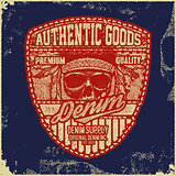 Vintage Denim typography, grunge t-shirt graphics