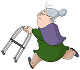 Old woman running with walker